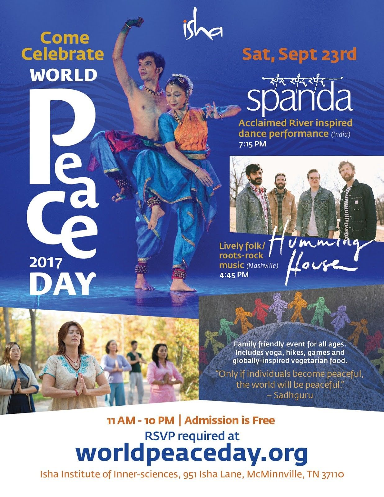 World Peace day Celebrations at the Isha Institute of Inner Sciences on Sep 23,